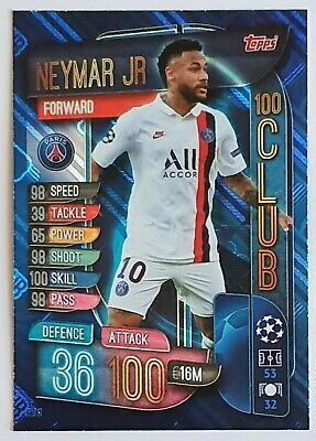 Match Attax Extra 2019/20 Neymar Jr 100 Club Card - #Clu11 - Paris St Germain