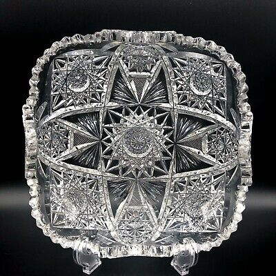 """Exceptional American Brilliant Period Cut Crystal Antique Low Shallow Bowl 9"""""""