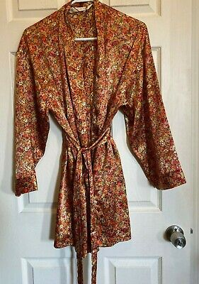 Vintage Floral Victorias Secret VS  Robe Long O/S Polyester Belt