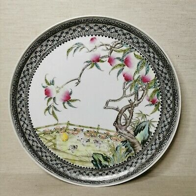 Vintage Chinese porcelain plate, 20th century. There stamped.