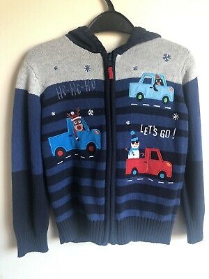 Bluezoo Christmas Hooded Cardigan Top Age 4-5 BNWT