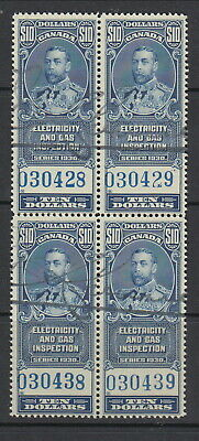 MNH Canada $10 Electricity and Gas Inspection Block of 4 #FEG11 (Lot #RR112)