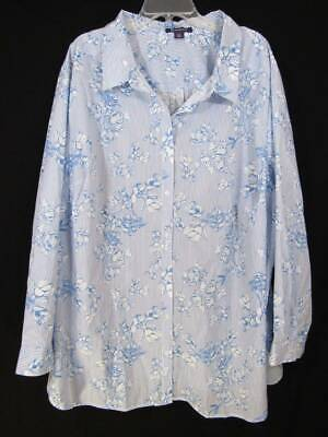Roamans Floral Shirt 34W White & Blue Striped Flower Design Button Front Top 6X