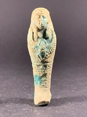 Lovely Ancient Egyptian Shabti With Winged Scarab Chest Piece Circa. 600-300Bce