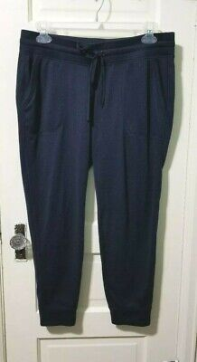 Old Navy Active Athletic Crop Pants sz L Large Navy Blue Go Dry Pockets Cuff EUC