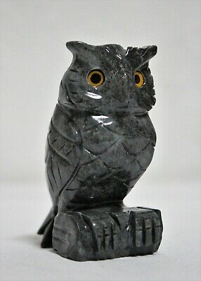 "Hand Carved Owl FIgurine Solid Marble Stone Dark Gray 3"" Made In Peru"