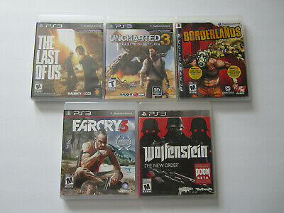 Lot of 5 Sony PS3 Games The Last of Us Uncharted 3 Borderlands Wolfenstein