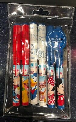 SET 6 STYLOS BILLE / BALL PENS PARIS 7 Disneyland Paris
