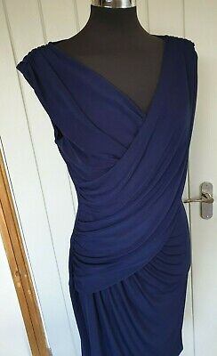 Coast navy blue sleeveless mock cross front dress 14 gathered  lined faux wrap