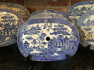 Antique English Meat Platter Drainer Blue Willow Transferware Oval Plateau #10