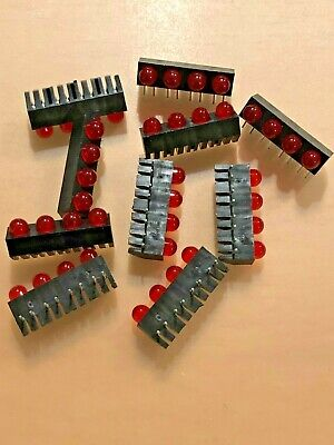 10Pcs CHICAGO MINIATURE RED LED 1x4 ARRAY RIGHT ANGLE BAR NOS USA!