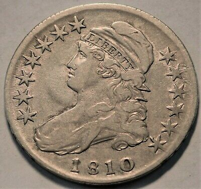 1810 Capped Bust Half Dollar, Better Date, Higher Grade Type Coin, Silver 50C