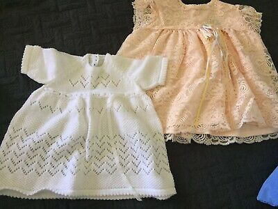 Vintage Crocheted And Lace Baby Dresses Sz 00 X 2
