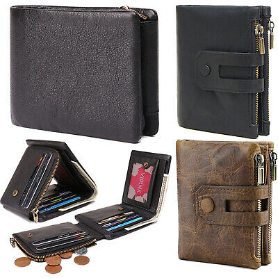 Mens Wallet Genuine Leather RFID Zipper Bifold / Trifold Purse with Coin Pocket