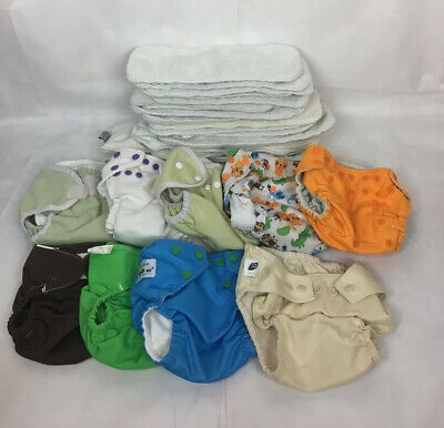 Gro Baby FuzziBunz 9 Cloth Diapers Inserts & 18 EXTRA Inserts Clean Adjustable