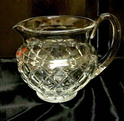 """Antique BOHEMIAN Hand Cut Quality Weight  CRYSTAL LARGE WATER JUG 1900's 6 x 8 """""""