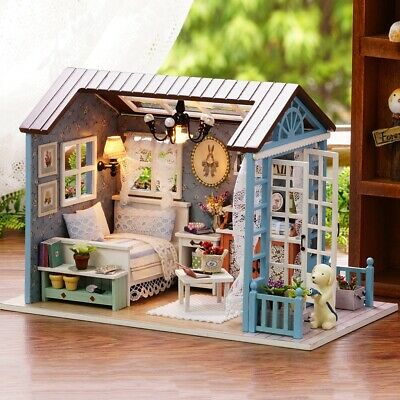 Home DIY Wooden Doll House Toy Miniature Kit Ancient Architecture Dollhouse