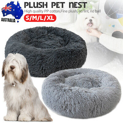 Pet Dog Cat Calming Bed Warm Plush Round Nest Comfy Sleeping Kennel Cave Lodge