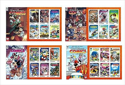 2020  Walt Disney Comics And Stories 8 Souvenir Sheets Unperforated