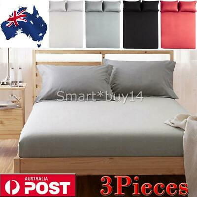 1000TC Ultra SOFT - 3Pcs FLAT & FITTED Sheet Set Queen/King/Super Size Bed AU