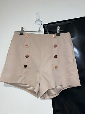 BNWT Bardot Beige High Waisted Shorts Size 6