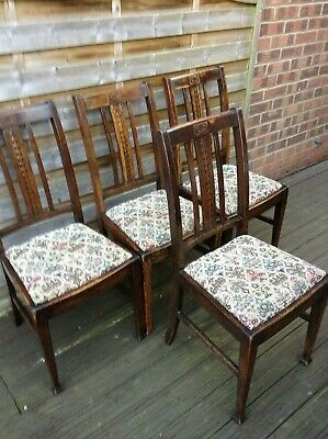 Four Arts And Crafts  Style Dining Chairs In Solid Oak