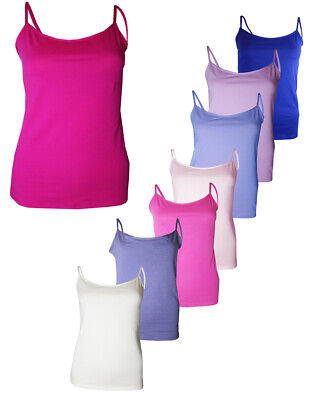 3 x NEW LADIES EX STORE STRAPPY CAMI TOPS ASST COLOURS SIZES UK 8 10 12 14 16 18