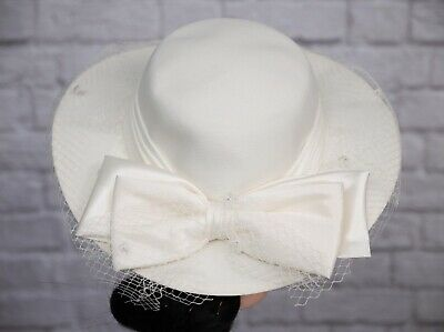 Vintage Hat Ivory Face Veil Pleated 1980s 1950s Victorian Goodwood Wedding