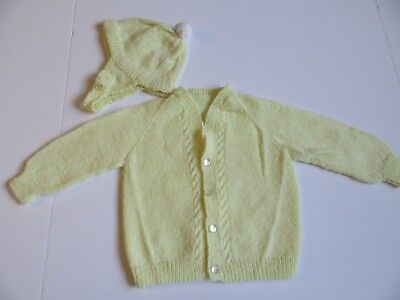Vintage Baby Boy Yellow Long Sleeve Sweater & Matching Hat With Chin Strap