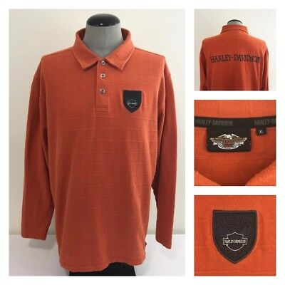 Harley Davidson Motorcycles Mens XL Ribbed Cotton Orange Spell Out Logo Shirt