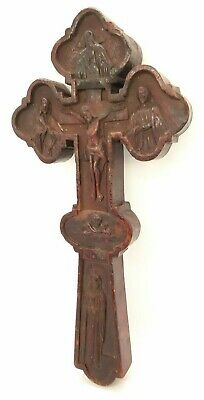 Antique Russian Orthodox Large Blessing Cross Wood Carved 19th century.