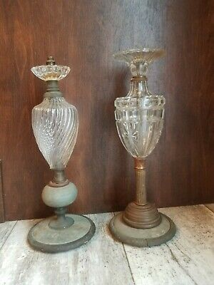 Antique Boudoir Table Lamps Glass Nightstand Light Incomplete Parts Repair Lot