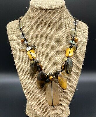 SILPADA-Sterling Silver Brass Tiger's Eye Pearl Necklace N2009  #1