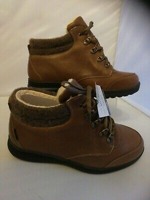 Ladies Cosyfeet Size 8 extra roomy walking Boots Moose Khaki Leather boxed