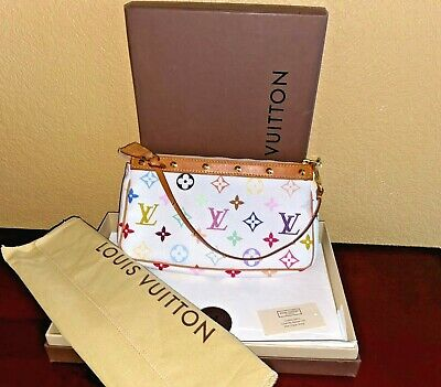 LOUIS VUITTON White Multicolor Monogram Pochette Accessories Clutch Wrist Pouch