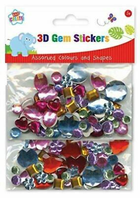Kids Create 3D Gem Stickers Assorted Colours and Shapes Art Craft Home School