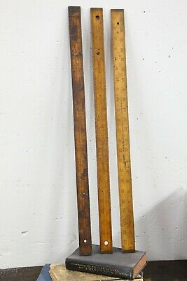 "Stanley Rule & Level Co Antique No. 30 1/8 Wood & Brass Rule Ruler 24"" machinist"