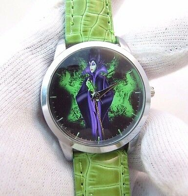 "DISNEY'S ""Maleficent"" Inspired ,MEN'S CHARACTER WATCH,Green Band,M-25,L@@K"