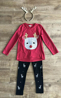 Debenhams Bluezoo Girls Two Piece Outfit Reindeer/ Christmas Age 7-8 Years