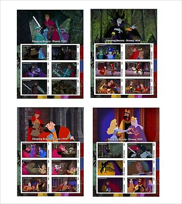 2019  Disney  Sleeping Beauty  8 souvenir sheets unperforated animation cartoons