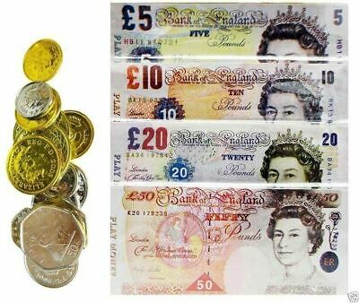 Fake Play Money Pretend Sterling Notes Coins Set Pound Cash Shop Role Game Toy