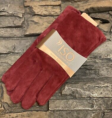 ISO Isotoners Women's Gloves Medium Red Water Repellent Suede Leather Sz L