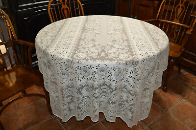 Vintage Quaker Lace  Ecru Tablecloth Lovely Pattern Needs A Stitch Or Two Repair