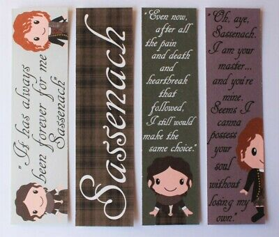 Set of 4 Outlander Quote Bookmarks