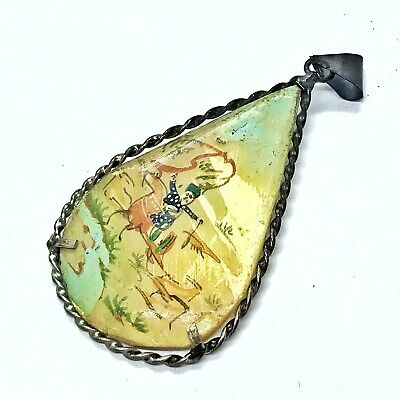 Antique Middle Eastern Hand Painted Mother Of Pearl Artwork Pendant Silver Paint
