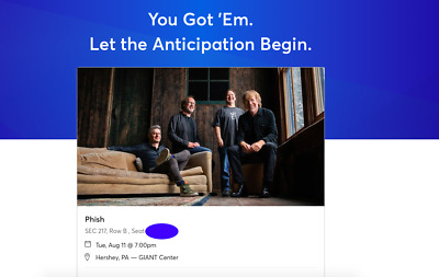 Pair of Phish tickets August 11th 8/11/20 GIANT Center Hershey, PA  217 row B