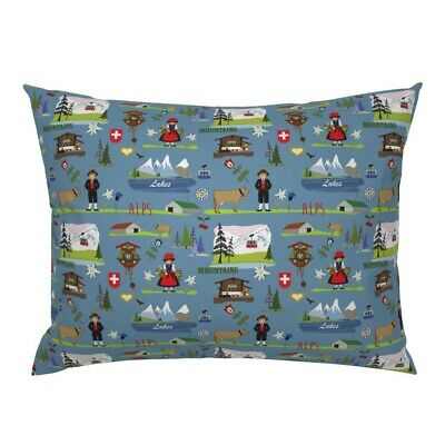 Swiss Alpine Mountains Alpine Chalet Cuckoo Clock Pillow Sham by Roostery