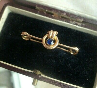 SUPERB Vintage Victorian 9ct Yellow Gold & Sapphire Sweetheart Bar Brooch c.1910