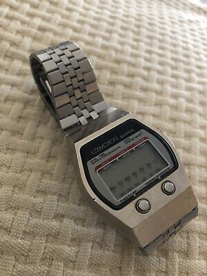 Vintage 70's COSMOTRON LCD 728-0877 DIGITAL WATCH CHRONO DUAL TIME DATE QUARTZ