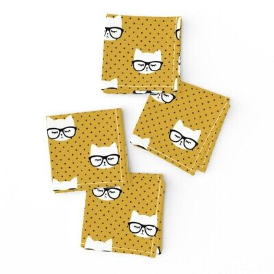 Cocktail Napkins Cats Cat Faces Cute Trendy Baby Girl Mustard Polka Set of 4